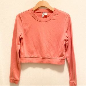 H&M Cropped Pink Sweater Sweatshirt Crop Top Crew